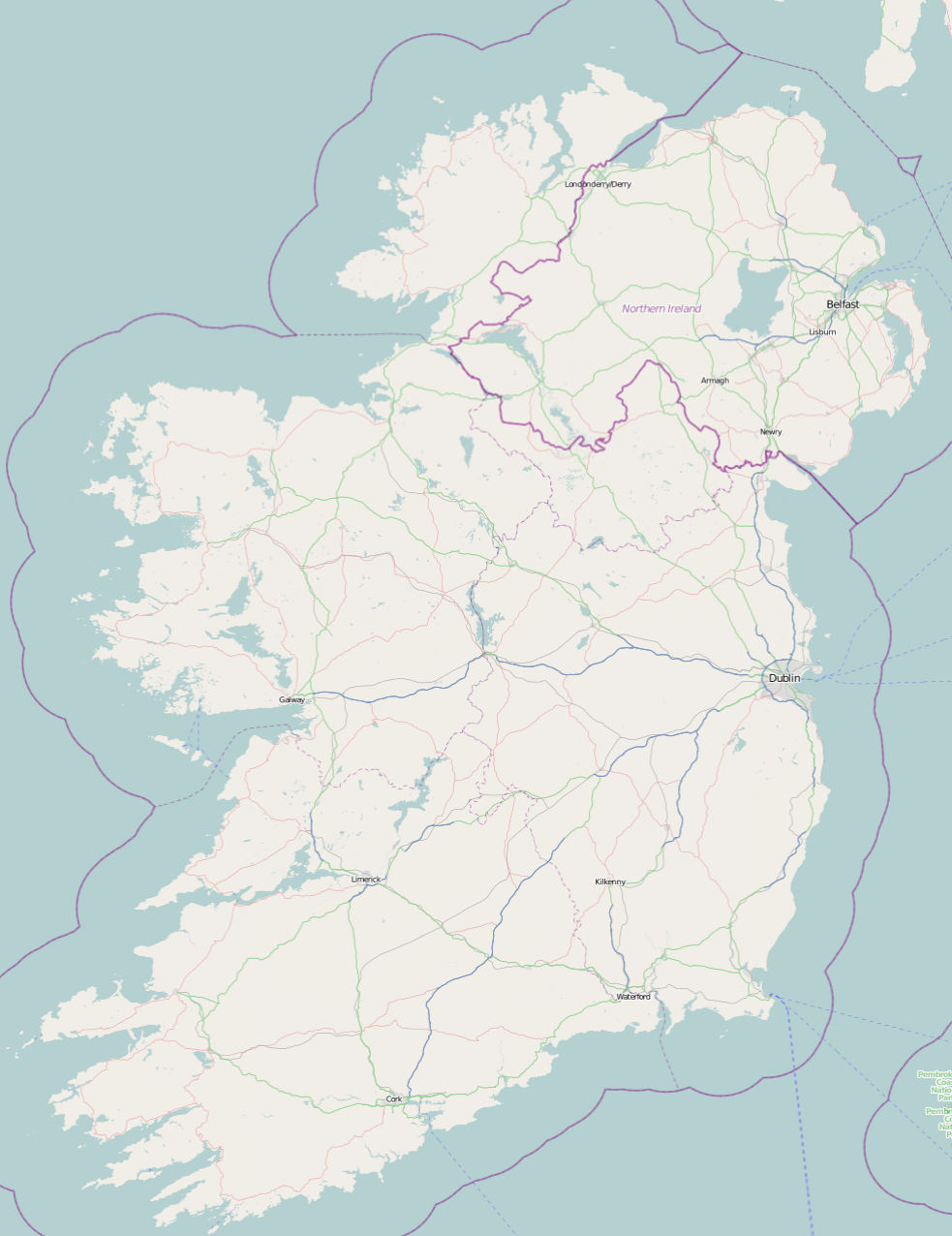 Road Map Of Ireland With Counties.Roads In Ireland Wikipedia