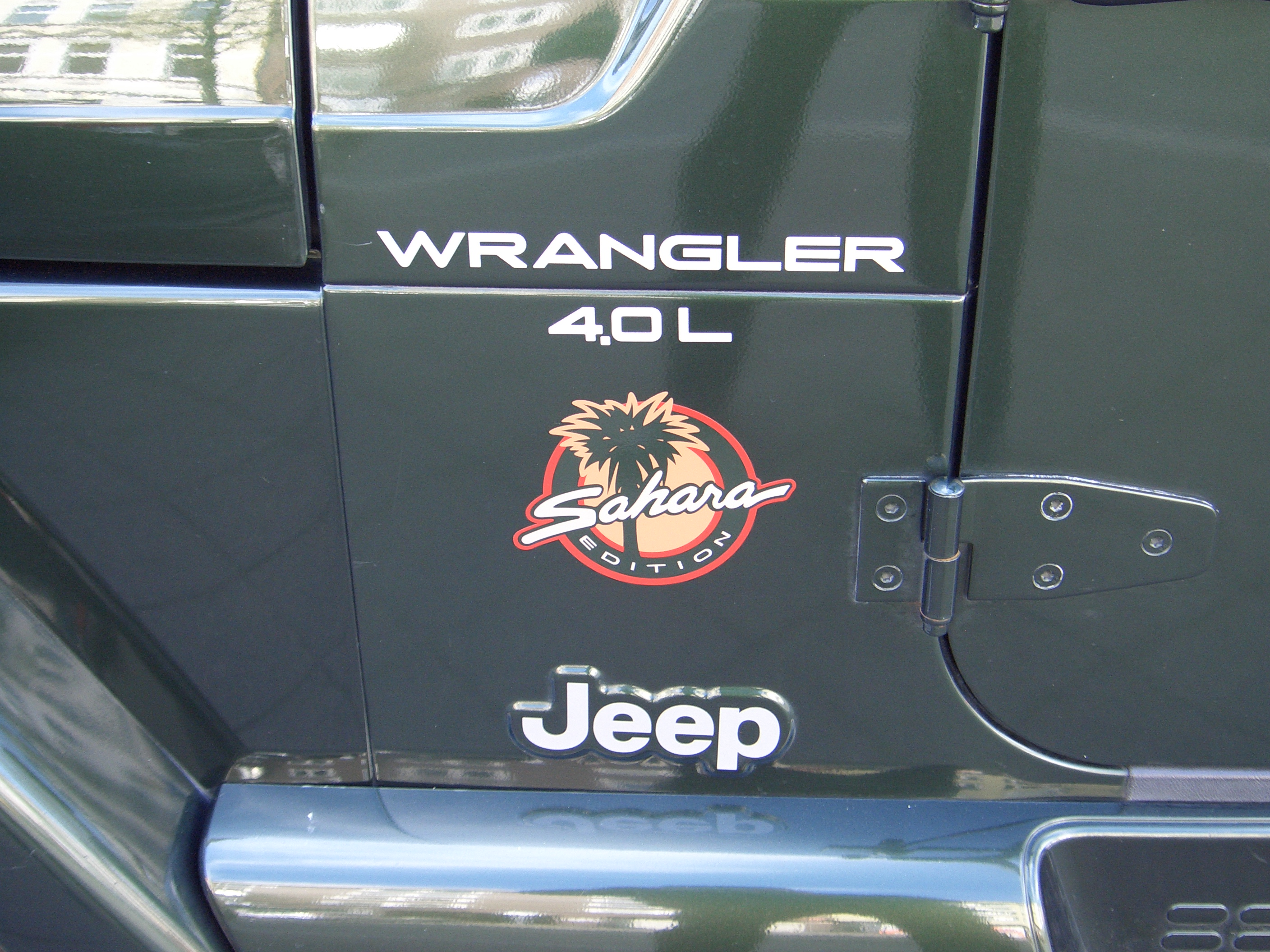 Jeep Wrangler Tj Build >> File:Jeep Wrangler 4.0L Sahara TJ 1997-2006 badge ...