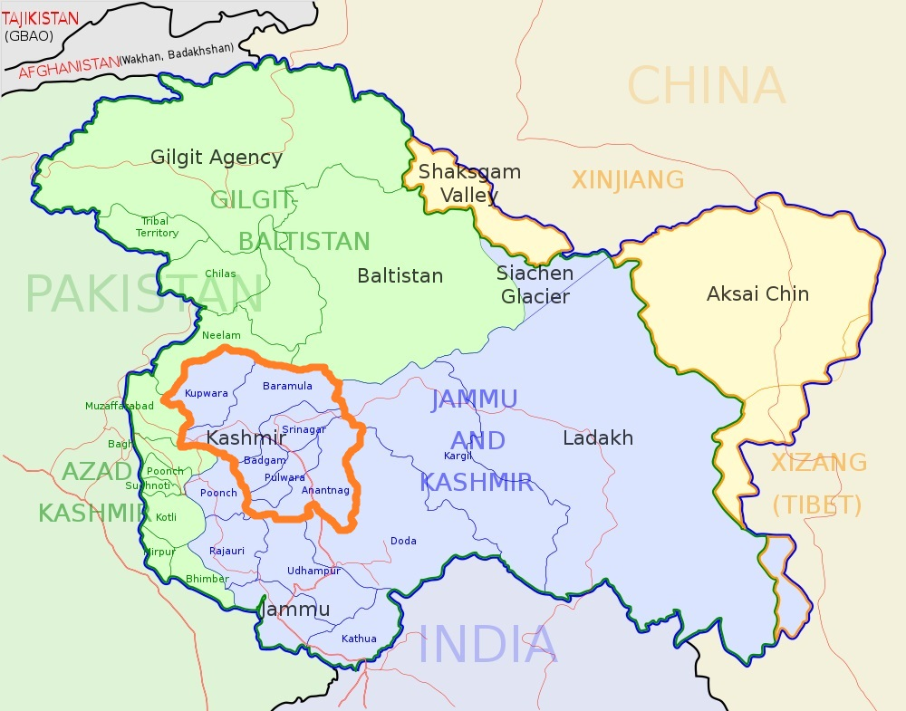 Kashmir Valley (orange bordered) lies in Indian state Jammu & Kashmir
