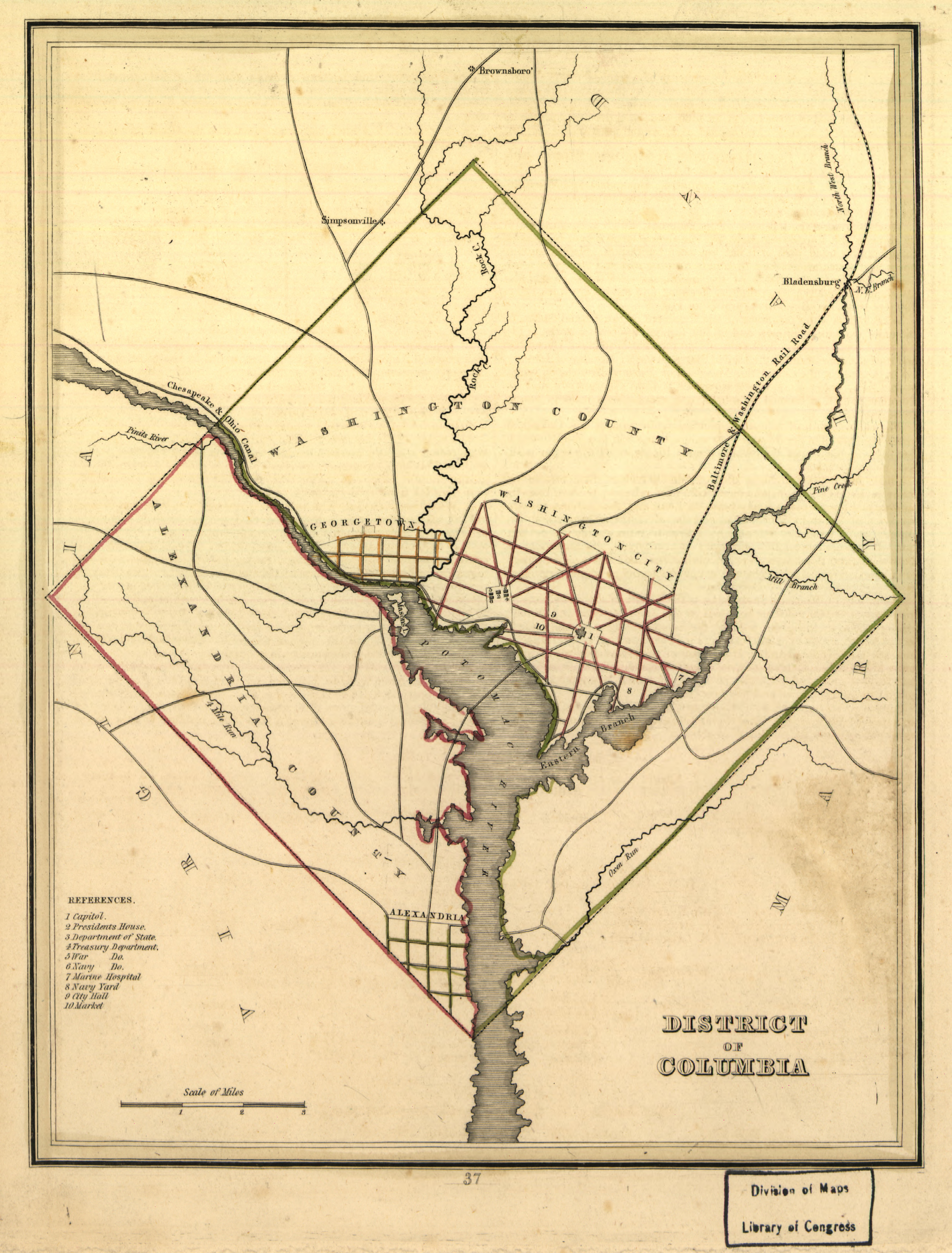 Map of the District of Columbia in 1835, prior to the Virginian ...