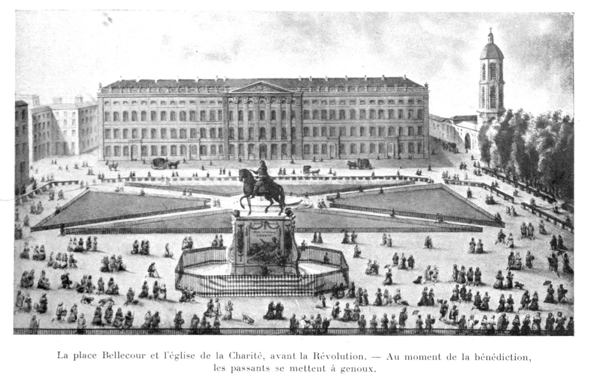 Place Bellecour avant la révolution, les passants se mettent à genoux au moment de la bénédiction.