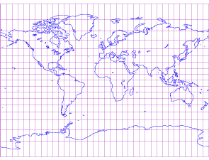 Miller Cylindrical Projection World Map