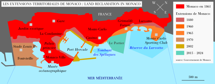 Land reclamation in Monaco since 1861