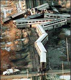 Wreckage of the Amtrak train #59 grade crossin...
