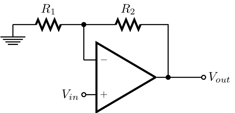 An op-amp connected in the non-inverting amplifier configuration.