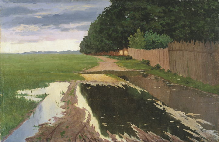 "Paul Raud : ""Maastik (Maastik taraga)"" (vers 1910) au KUMU à Tallin."