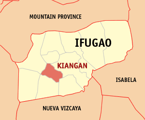 Map of Ifugao showing the location of Kiangan