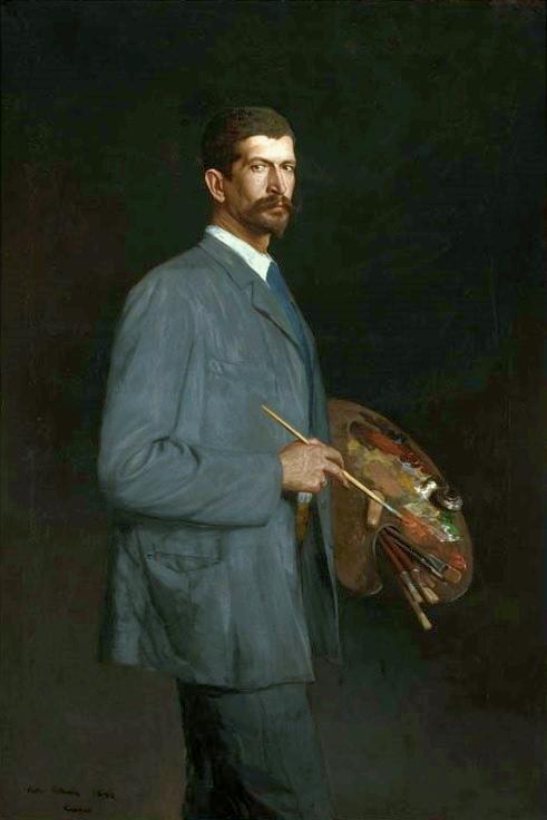 Painter Holding Paint Brush And Pain Buket