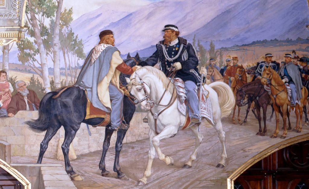 Meeting between Giuseppe Garibaldi and Victor Emmanuel II on the bridge of Teano on October 26, 1860.