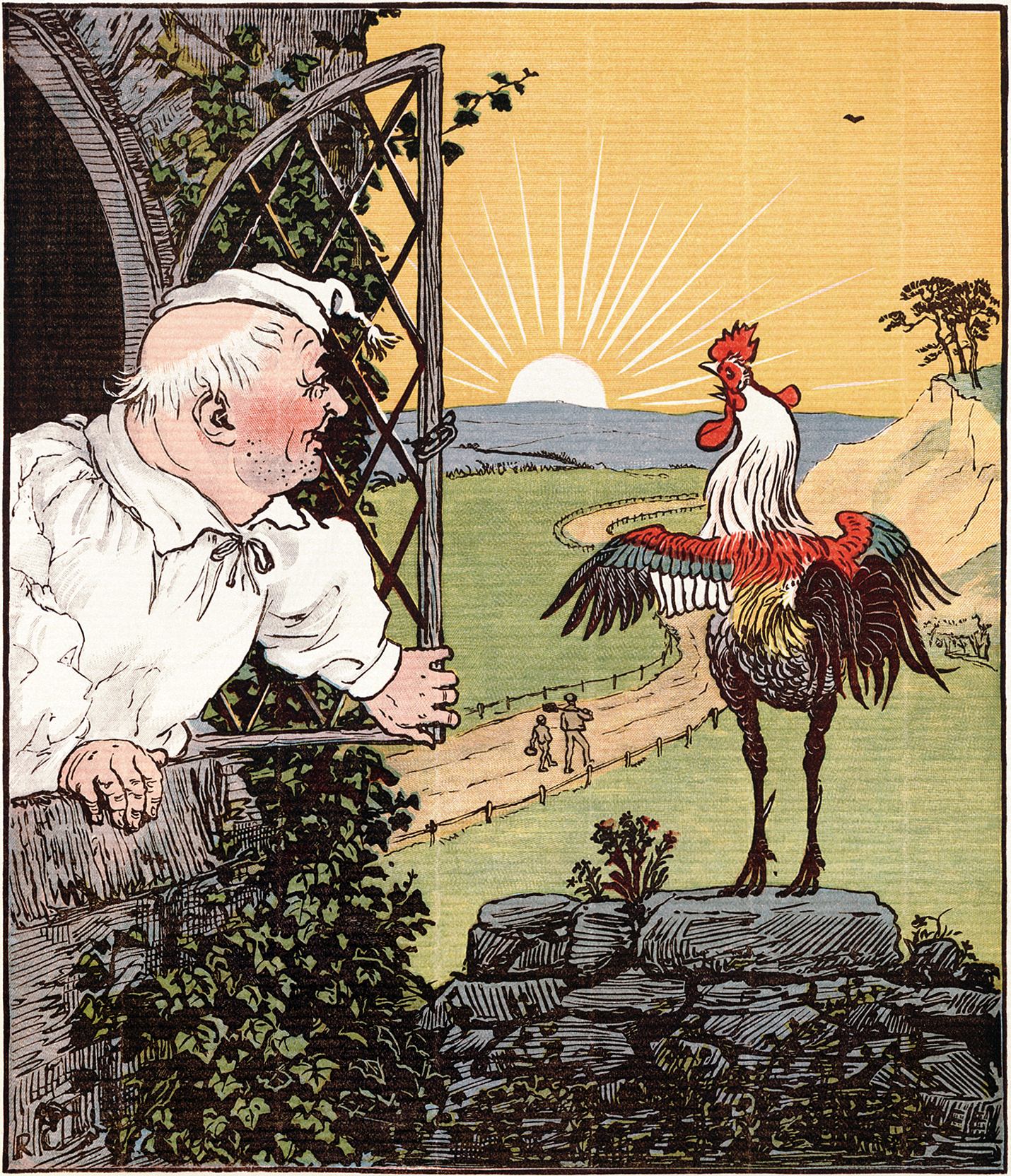 Illustration Of Crowing Rooster Facing The Rising Sun With A Man Dressed In Nightcap And