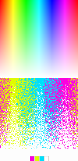 A colorful image reduced to 4 colors using spatial color quantization.