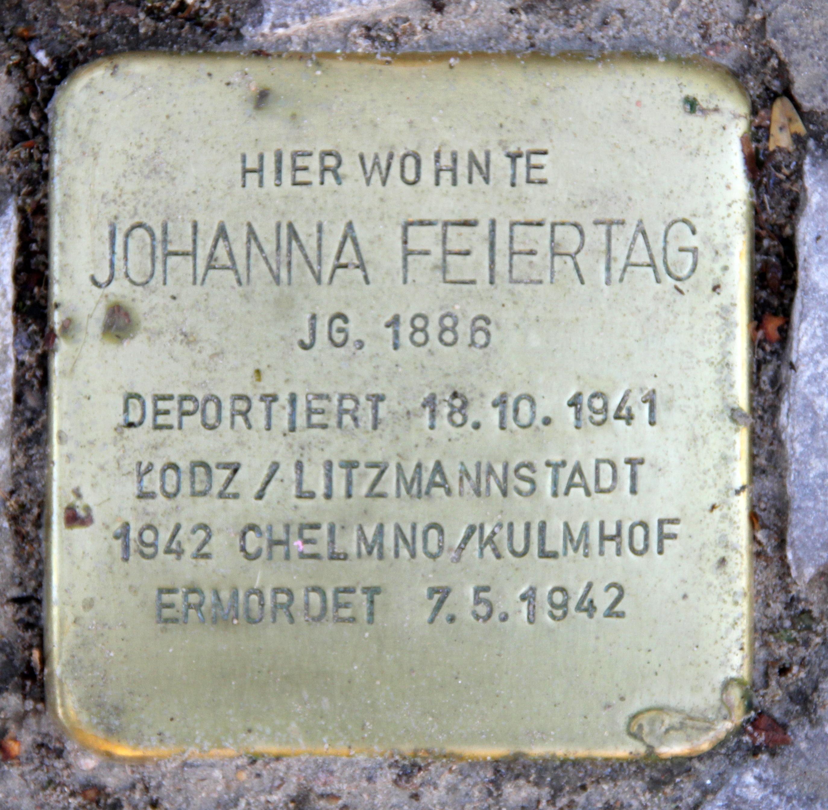 Datei Stolperstein Kuno Fischer Str 17 Charl Johanna Feiertag Jpg