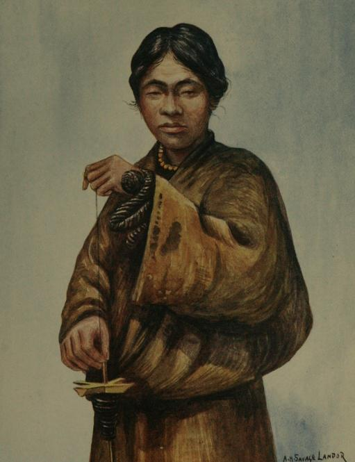 1905 illustration of a Tibetan man spinning wool.