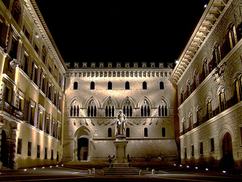 The bank Monte dei Paschi di Siena, founded in 1472. The Republic of Siena, Italy.
