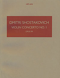 The distinctive brown cover of a Hawkes Pocket Score: Dmitri Shostakovich's Violin Concerto No. 1 (Op. 77; sometimes numbered Op. 99).