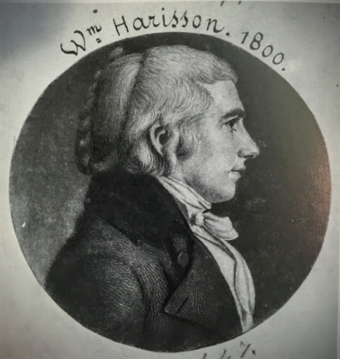 Engraving of Harrison, c. 1800, by Charles Balthazar Julien Fevret de Saint-Mémin