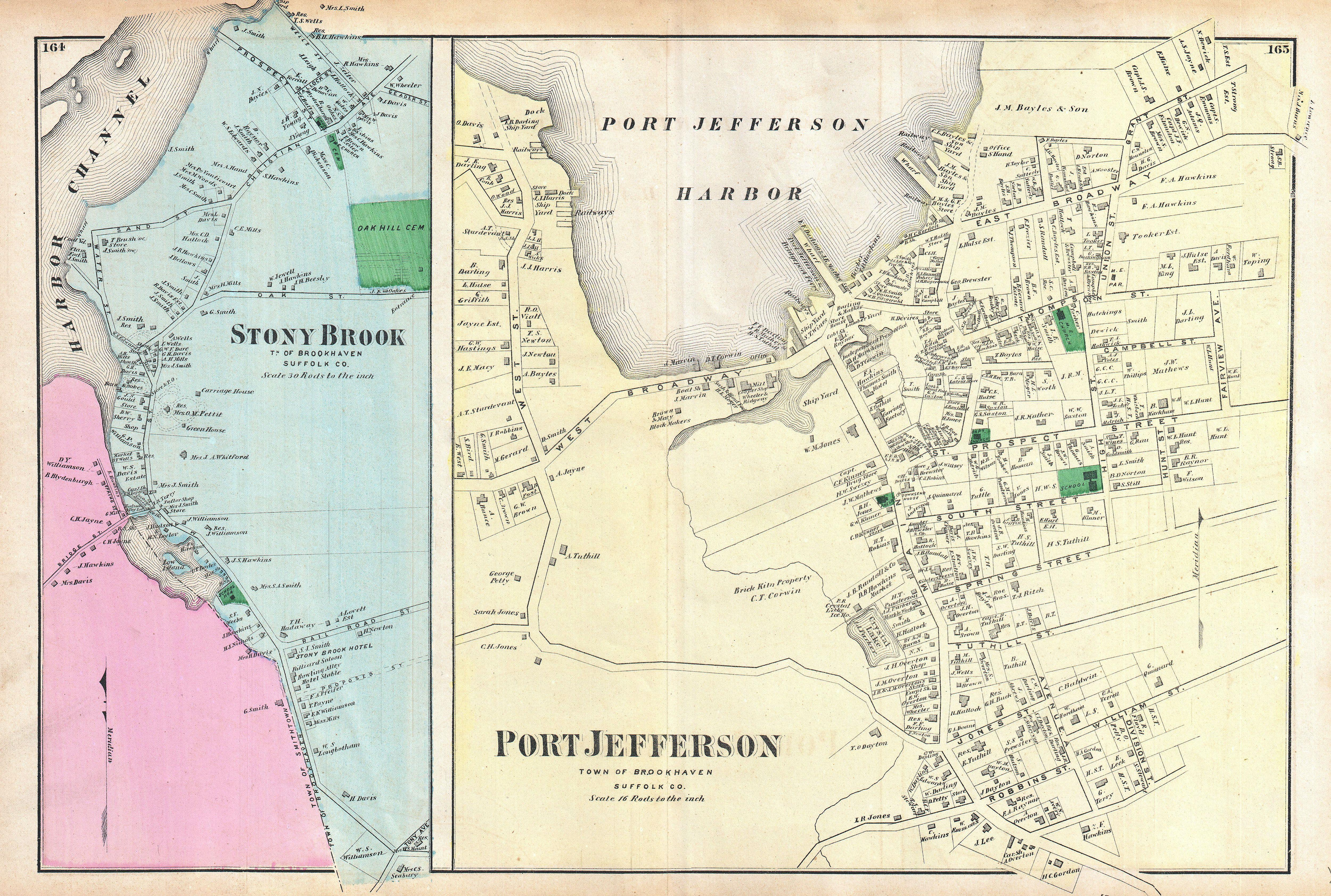 stony brook new york map File 1873 Beers Map Of Stony Brook And Port Jefferson Long Island