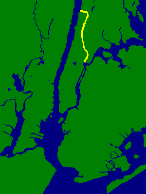 The Harlem River, shown in yellow, between the Bronx and Manhattan in New York City