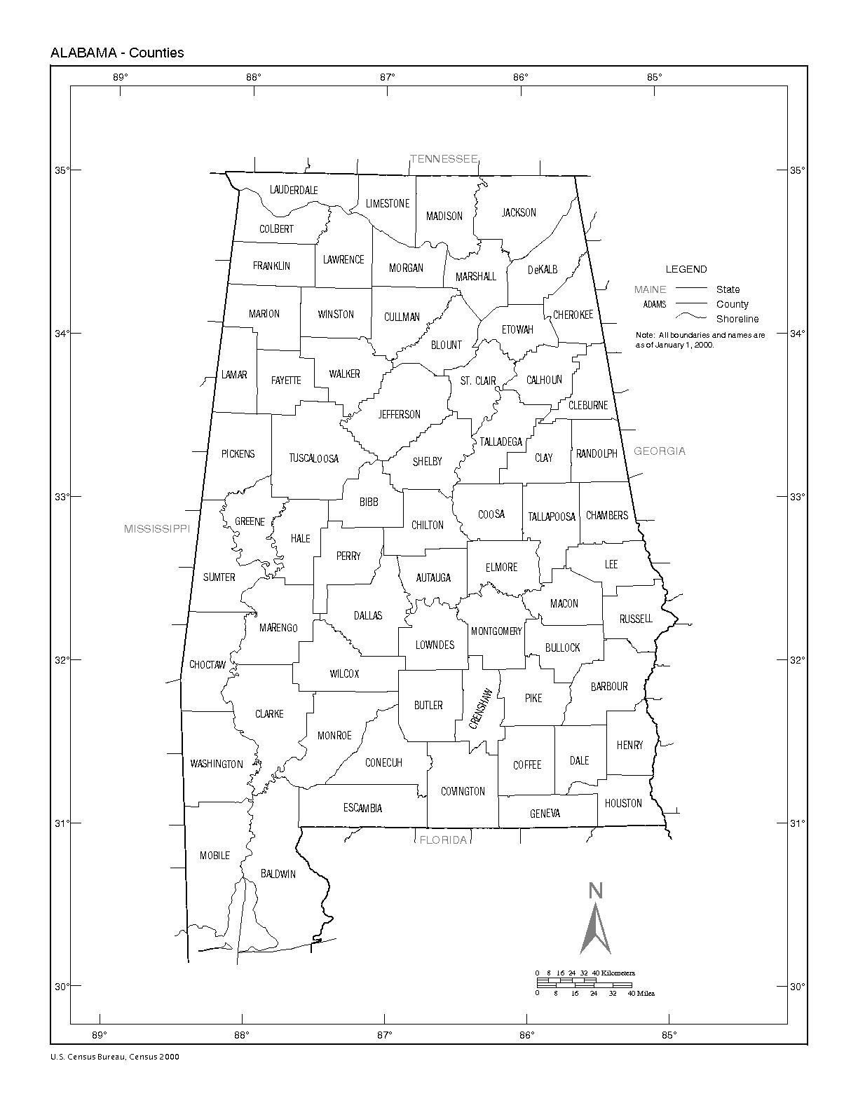 Alabama Counties Map