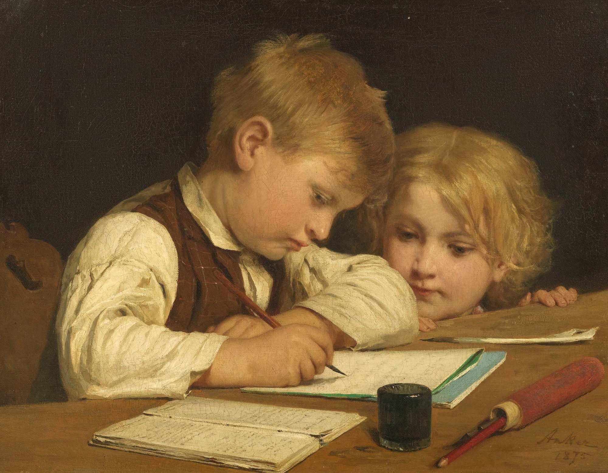 Albert Anker Schreibender Knabe mit Schwesterchen I 1875