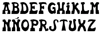 The letters of the alphabet in a Basque style font.
