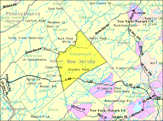Census Bureau map of Frelinghuysen Township, New Jersey