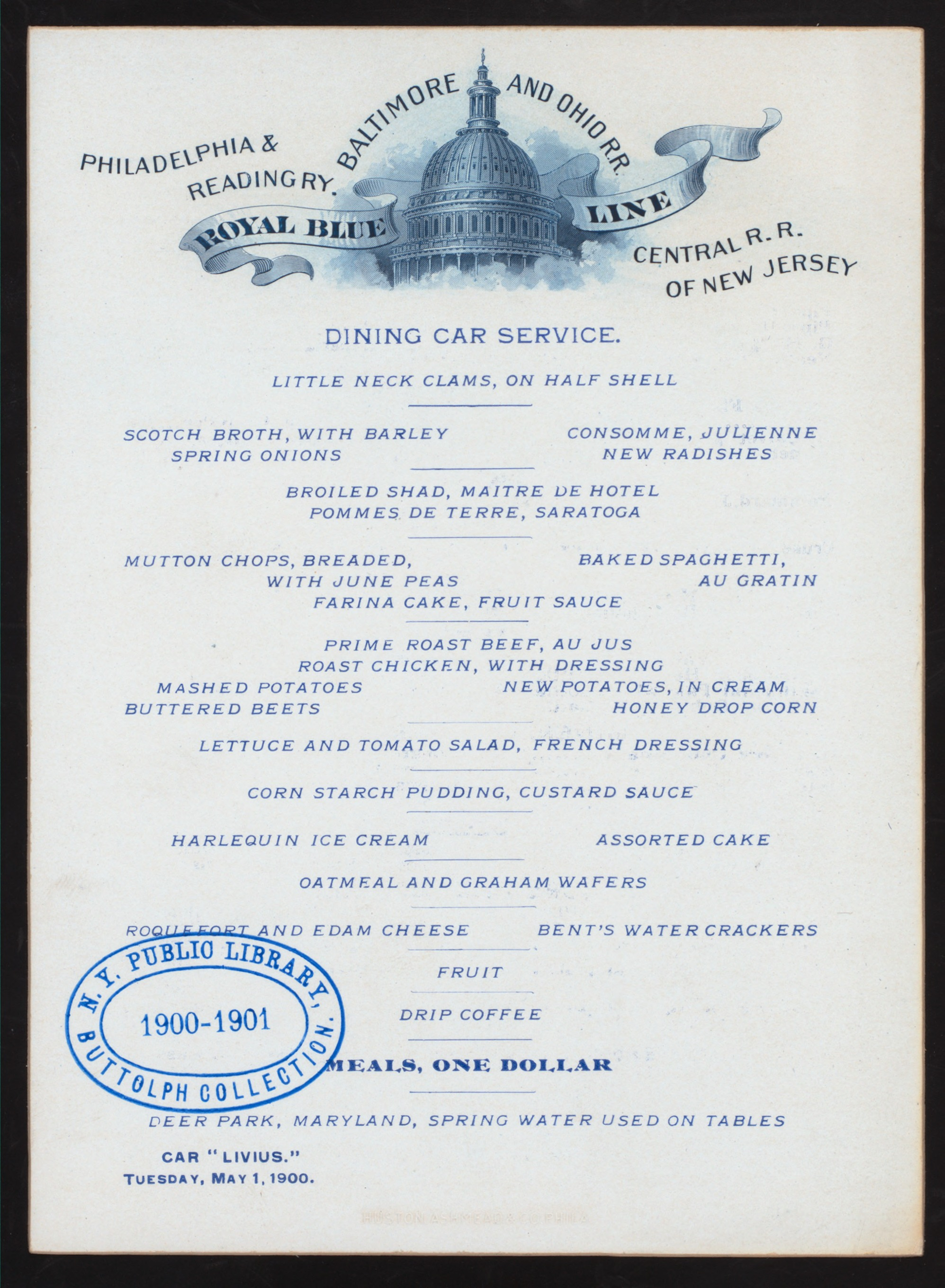 File Dining Car Service Meals Held By Baltimore And Ohio Rr Royal Blue