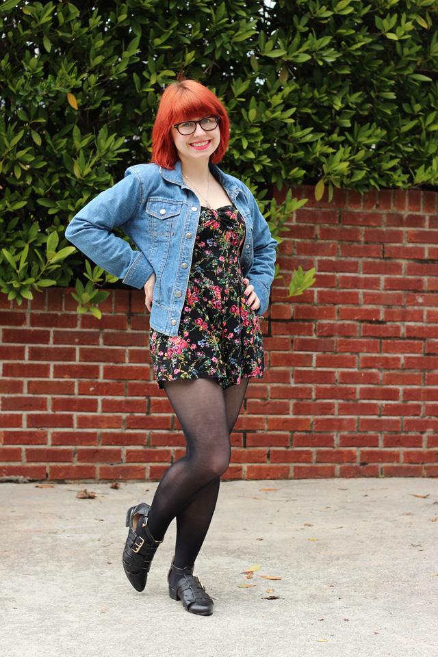 File:Denim Jacket, Floral Print Target Playsuit, Black ...