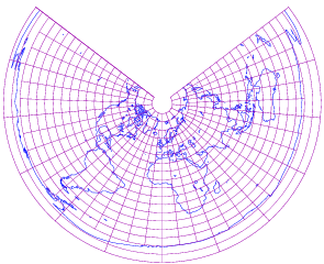 Equidistant conical projection of world with grid.png