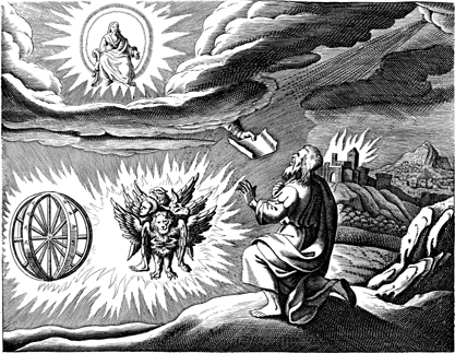 One traditional depiction of the cherubim and chariot vision, based on the description by Ezekiel. Ezekiel's vision.jpg