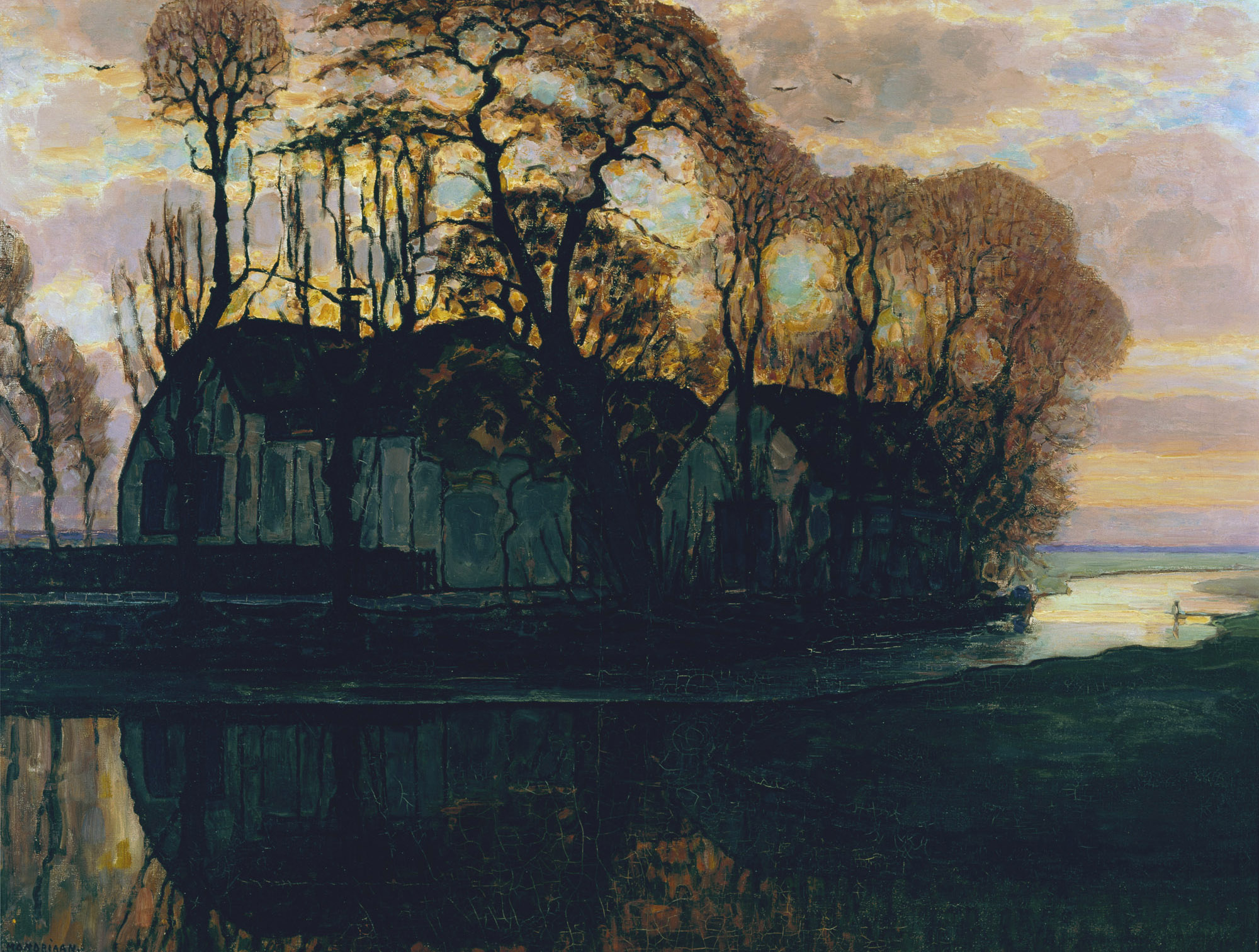farm near duivendrecht in the evening