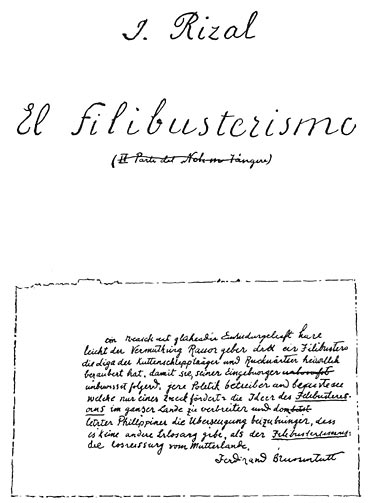 First page of El filibusterismo manuscript