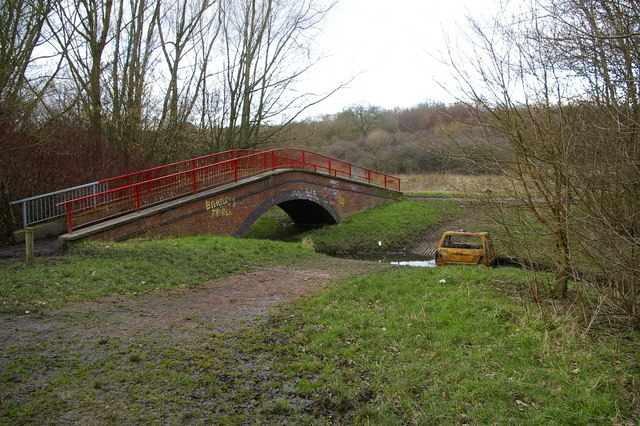 Footbridge and ford across the Bourn Brook, Woodgate Valley Country Park - geograph.org.uk - 336585