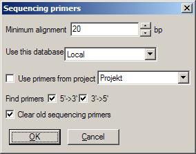 Sequencing primers dialog
