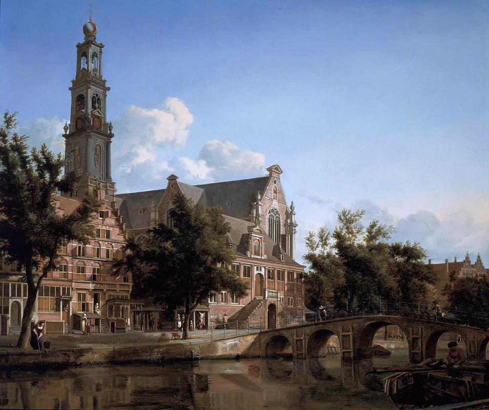 La Westerkerk, ou église de l'ouest sur une toile de Jan van der Heyden