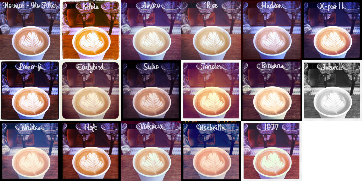 A photo collage of an unprocessed image (top left) modified with the 16 different Instagram filters available in 2011