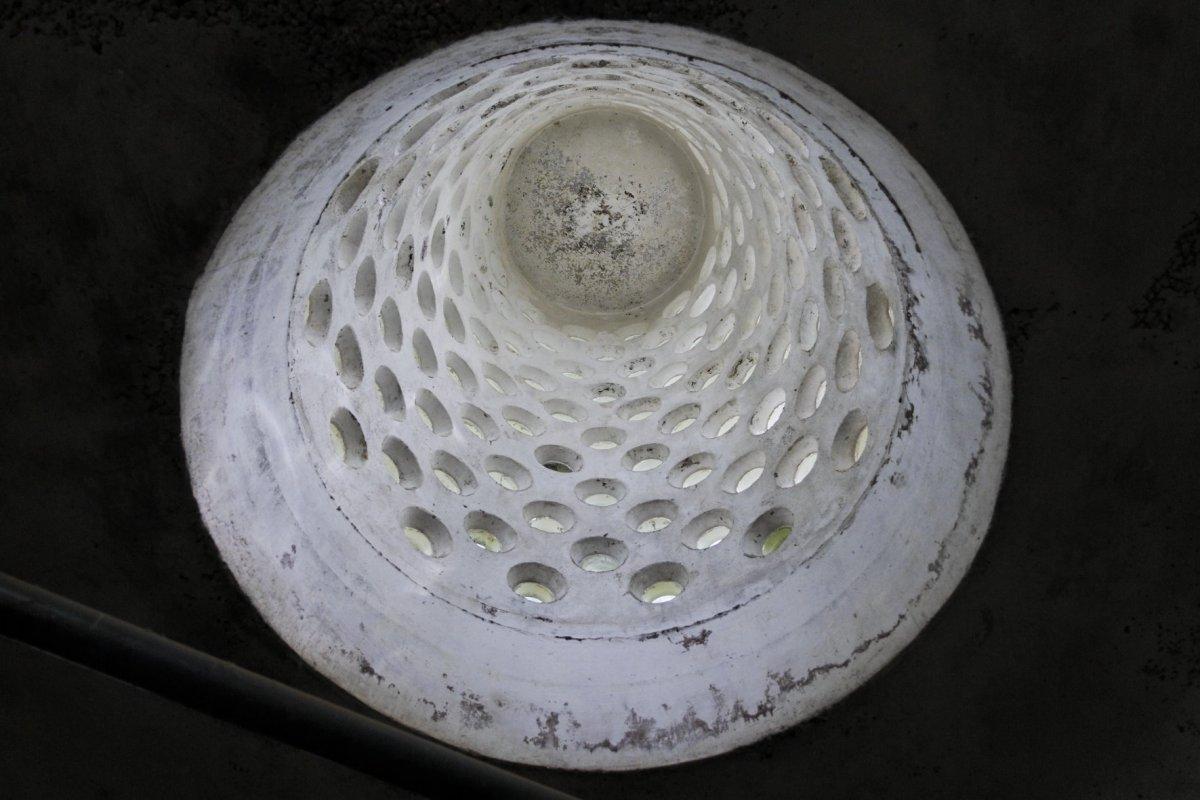 File interieur zicht in de betonnen conisch uitlopende for Interieur de ronde