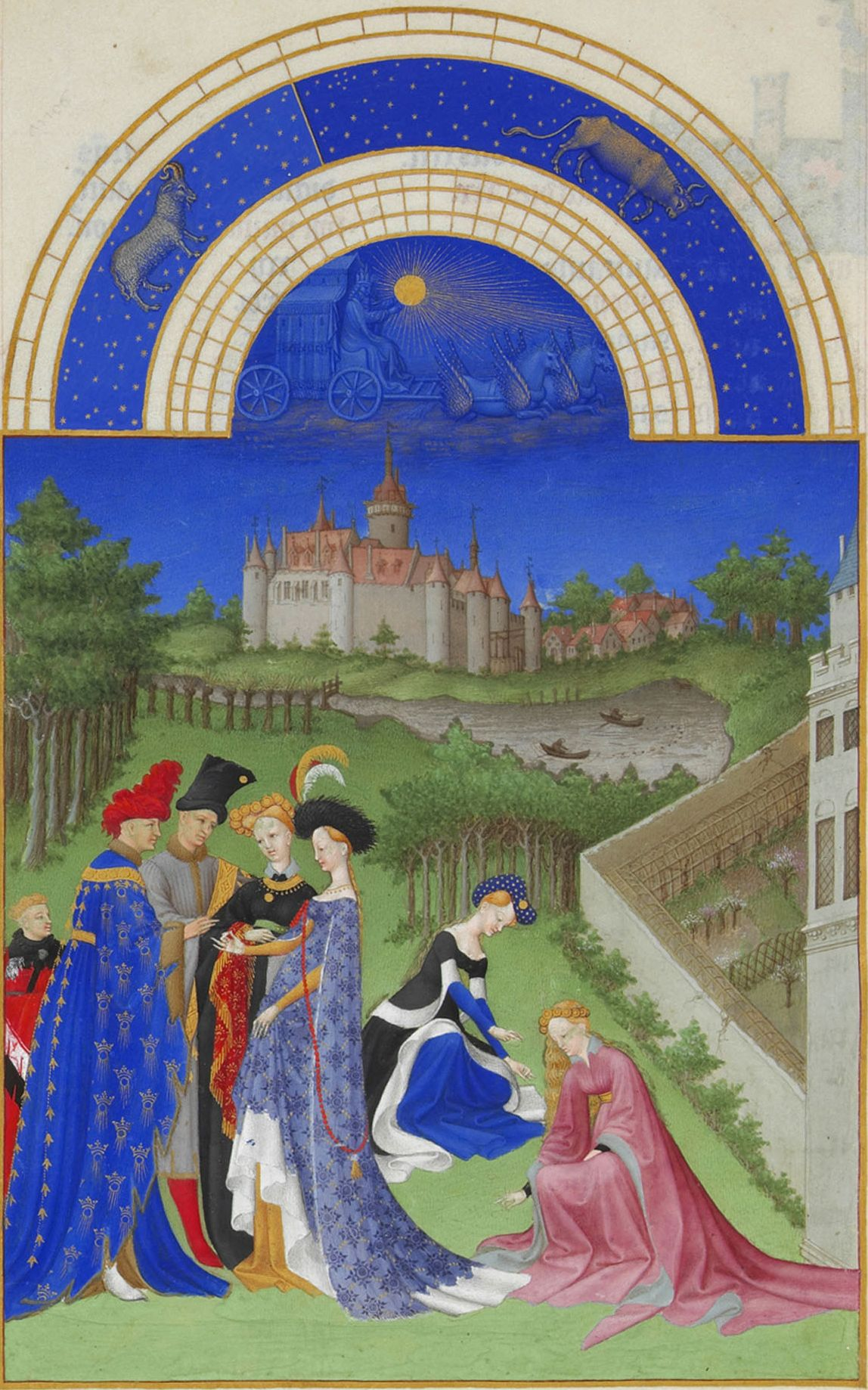 """Limbourg Brothers, """"The Book of Hours."""" A pair of newlyweds exchanged rings in the garden, in the presence of family and friends"""