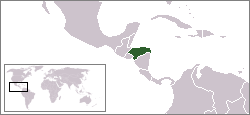 World locator map with Honduras highlighted in green.