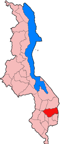 Map of Malawi with Zomba District Highlighted Red