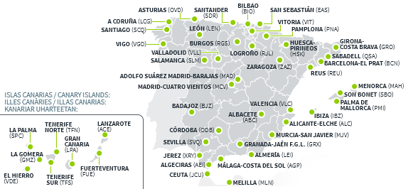Aeropuertos En España Mapa.Archivo Mapa De Los 46 Aeropuertos Y 2 Helipuertos Que