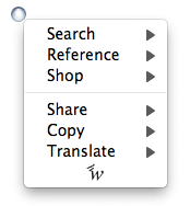 Hyperwords 6.0 for Firefox Menu Screenshot.