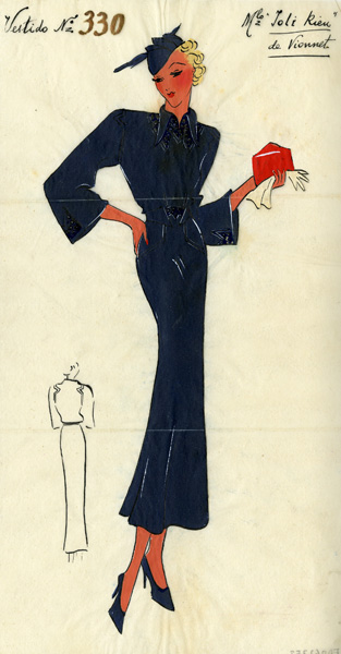 Museo del Traje - MTFD062753 - Figurín de un vestido de Madeleine Vionnet