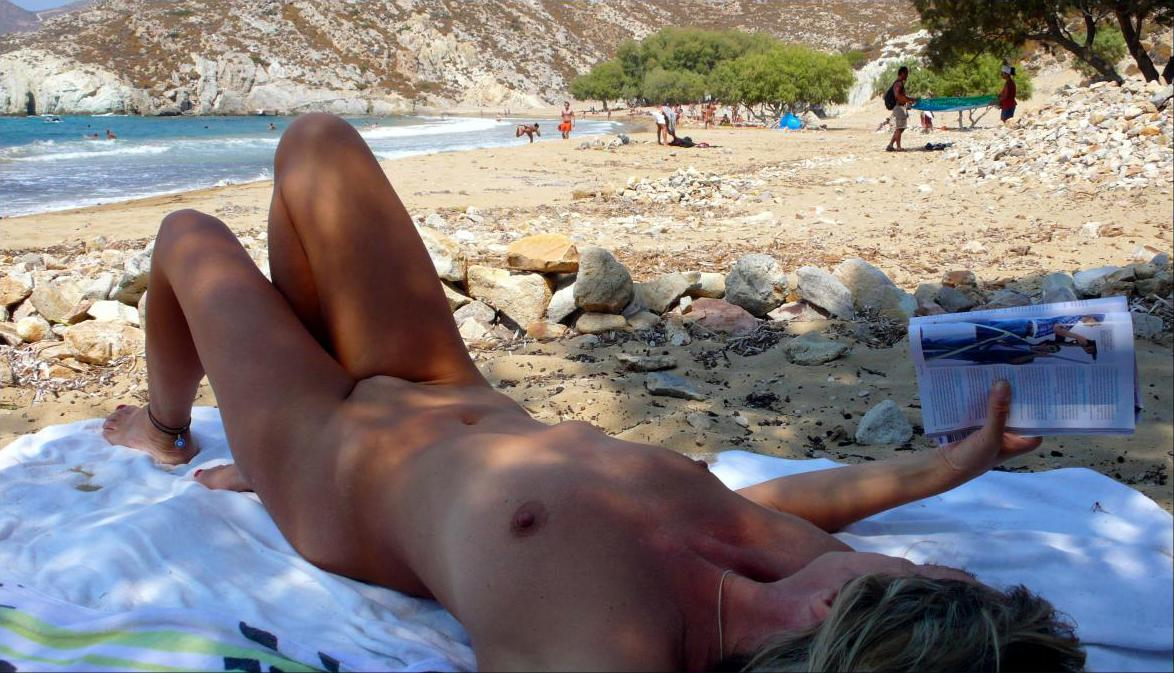 File:Nude woman at Psilli Amos Beach Patmos.jpg