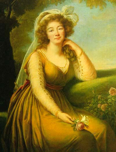Oil on canvas portrait of Madame du Barry started in 1789 by Vigée-Lebrun (Private collection)