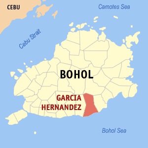Map of Bohol showing the location of Garcia Hernandez
