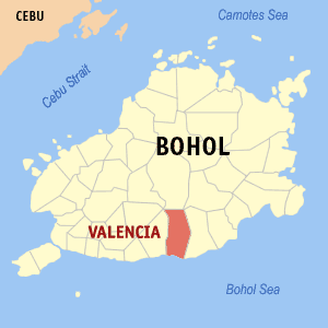 Map of Bohol showing the location of Valencia