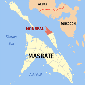 Map of Masbate showing the location of Monreal