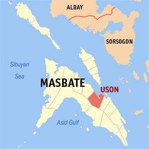 Map of Masbate showing the location of Uson