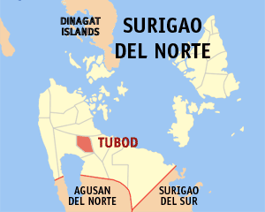 Map of Surigao del Norte showing the location of Tubod